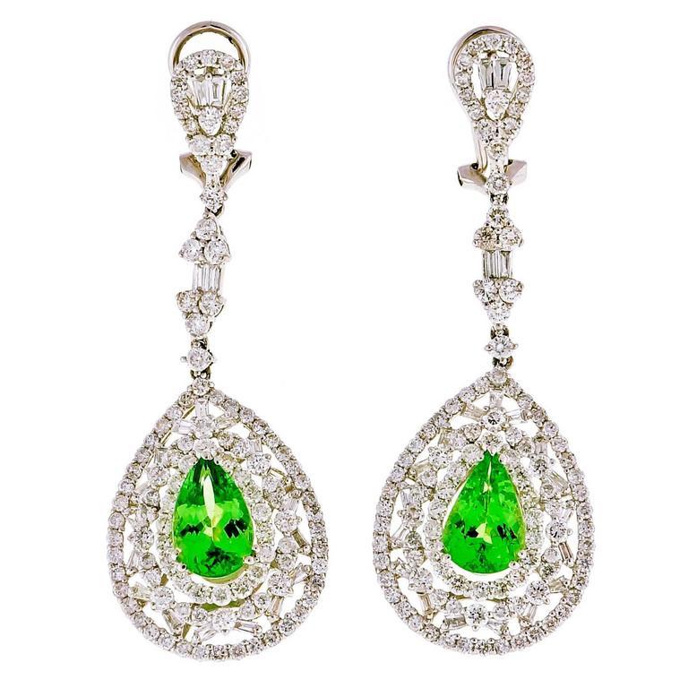 Tsavorite Garnet Diamond Gold Dangle Earrings