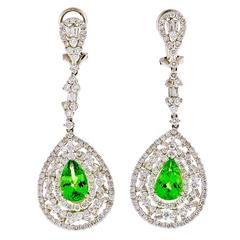 Tsavorite Garnet Diamond Gold Dangle Earrings