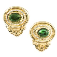 10.74 Carat Tourmaline Diamond Gold Clip Post Earrings