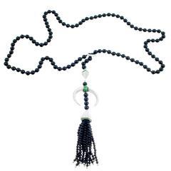 Shaun Leane Tsavorite Garnet Onyx Diamond Gold Tassel Lariat Necklace