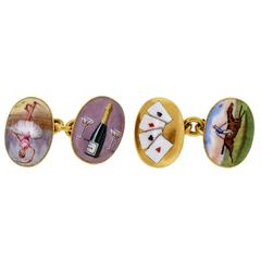 Enamel Double-Sided Gold Four Vices Cufflinks