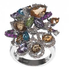 Multicolored Fancy Cut Topaz Amethyst Diamond Gold Ring