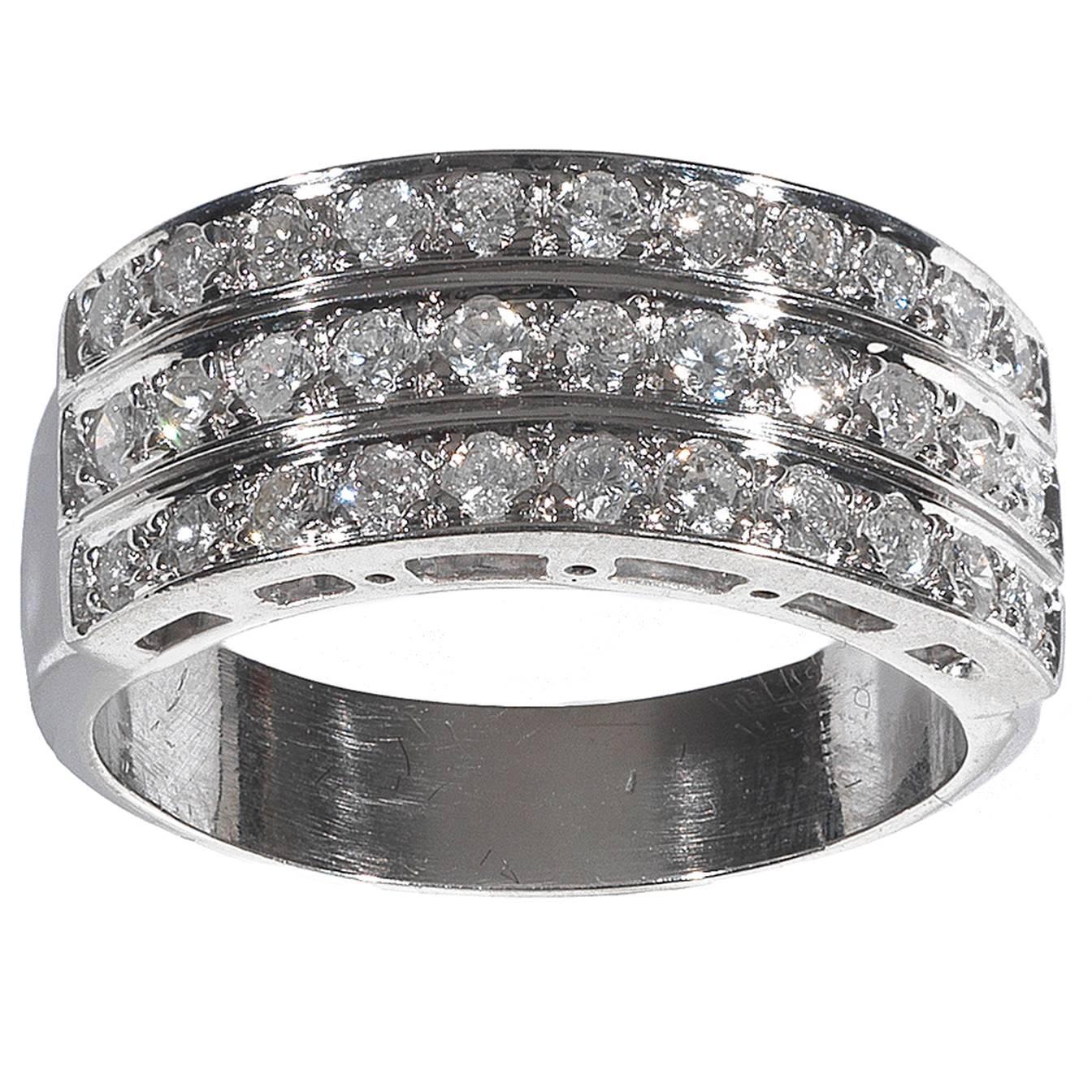 Diamond Gold Three Row Band Ring