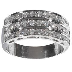 Diamond Gold Three Row Band Ring