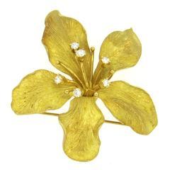 Tiffany & Co Diamond Gold Flower Brooch Pin