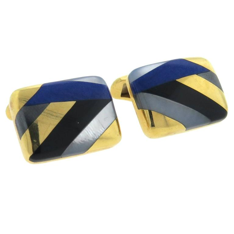 Asch Grossbardt Inlay Onyx Lapis Mother of Pearl Large Gold Cufflinks 1