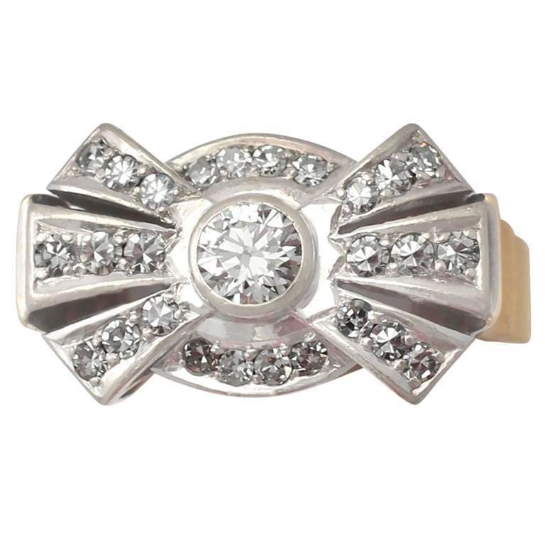 1950s Diamond & Yellow Gold Platinum Set Cocktail Ring