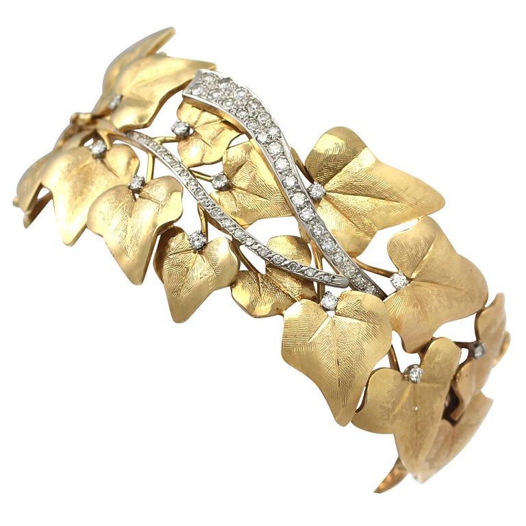 1930s 1.12 Carat Diamond Two Color Gold Bangle Bracelet