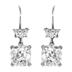 Cushion-Cut Old Mine Brillant Diamond Ear pendants