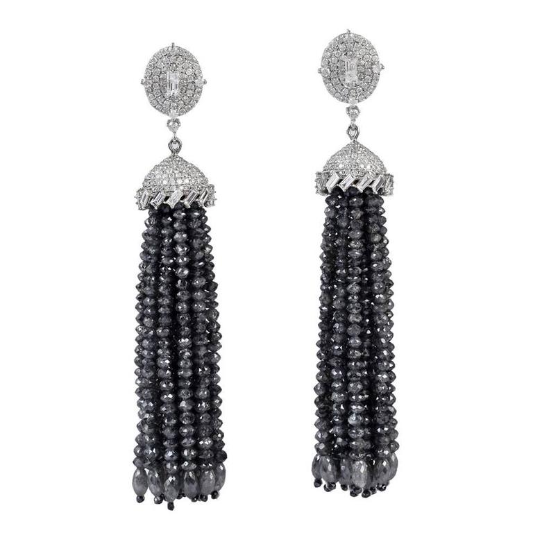 Black and White Diamond Gold Tassel Earrings
