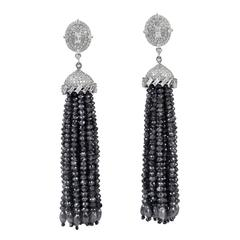 Black and White Diamond Gold Tassel Earrings