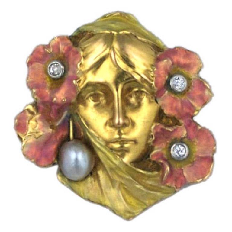 Art Nouveau Enameled Woman