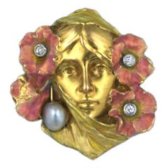 Art Nouveau Enameled Woman
