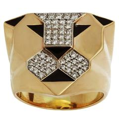 1990s Bulgari Enigma Black Enamel Diamond Gold Lion Ring