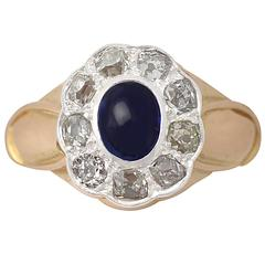 0.71Ct Sapphire & 0.81Ct Diamond, 14k Yellow Gold Cluster Ring - Antique