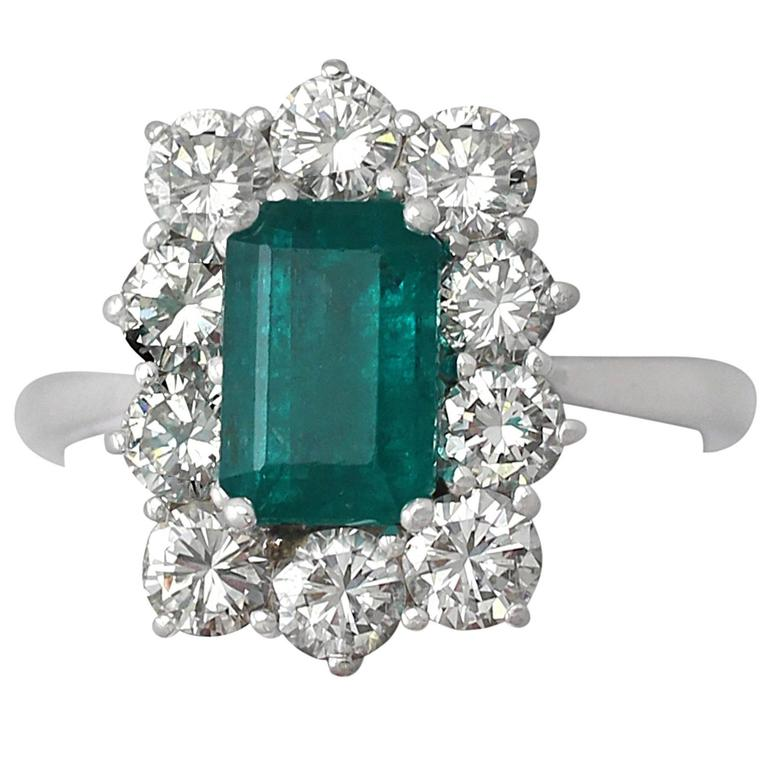1.57Ct Emerald & 1.72Ct Diamond, 18k White Gold and Cluster Ring - Vintage 1