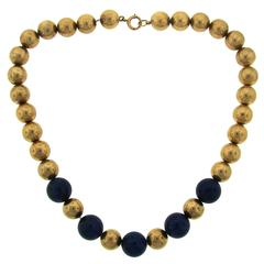 1960s Tiffany & Co. Lapis Lazuli Yellow Gold Bead Necklace