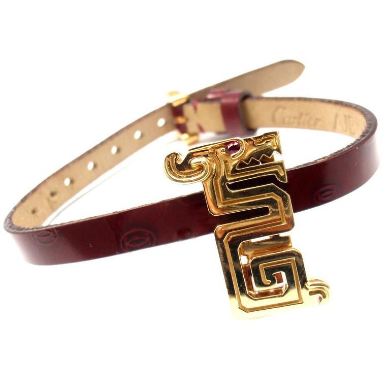 Cartier Le Baiser Du Dragon Ruby Gold Charm Pendant On A Leather Bracelet
