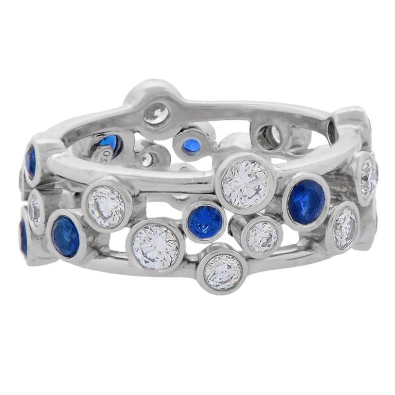 "Tiffany & Co. Sapphire Diamond Platinum ""Bubbles"" Ring"