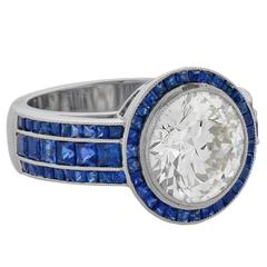 Sapphire Diamond Platinum Band Cocktail Ring
