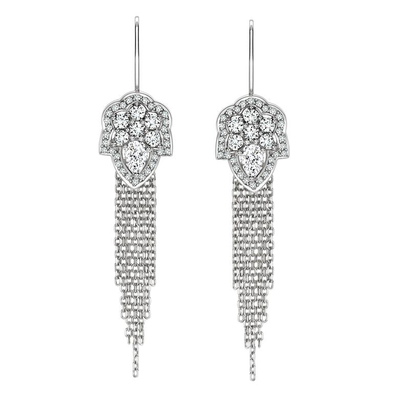 Ana De Costa White Pear Round Diamond Platinum Drop Chain Earrings