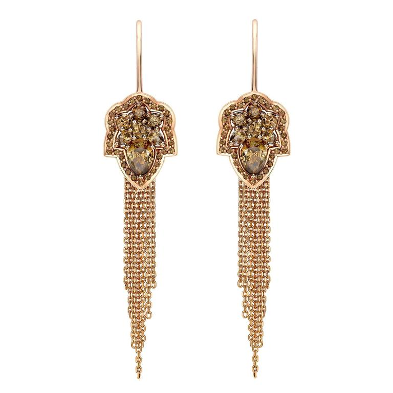 Ana De Costa Rose Gold Pear Round Cognac Diamond Drop Chain Earrings
