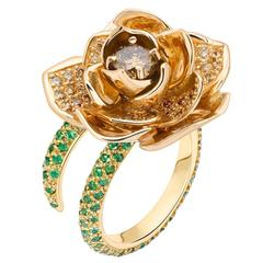 Ana De Costa Rose Yellow Gold Round Tsavorite Cognac Diamond Lotus Cocktail Ring