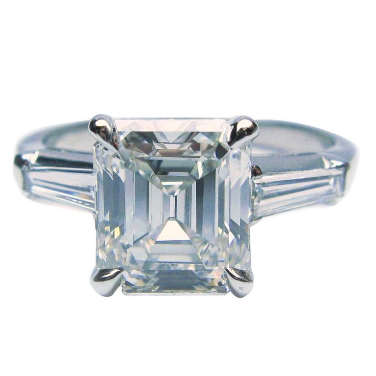 2 46 Carat GIA cert emerald cut diamond platinum engagement Ring at 1stdibs