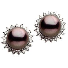 Tahitian Pearl Diamond Gold Stud Earrings