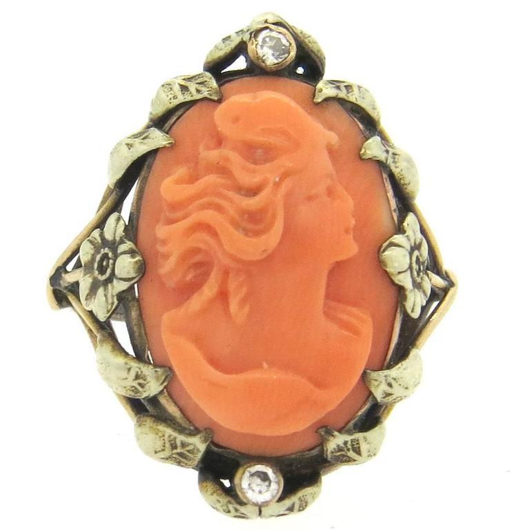Antique Coral Cameo Diamond Gold Ring  1