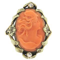 Antique Coral Cameo Diamond Gold Ring