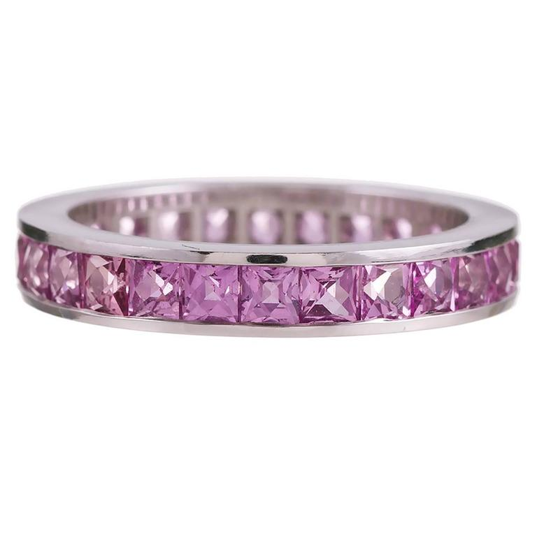 Channel Set Pink Sapphire Eternity Band 1