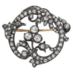 Mid-19th Century Diamond Foliate Pin