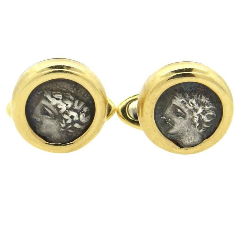 Bulgari Monete Ancient Coin Gold Cufflinks Gallia-Massalia, 385-220 B C