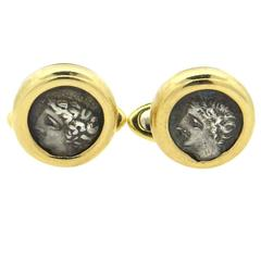 Bulgari Monete Ancient Coin Gold Cufflinks Gallia-Massalia, 385-220 B.C.