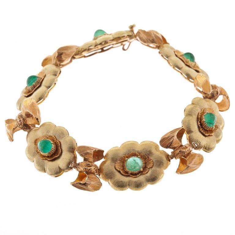 Buccellati Emerald Diamond Gold Link Bracelet