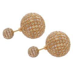 Yellow Gold and Yellow Diamond Ball/Tribal Earring