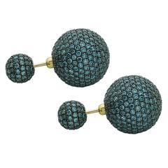 Ice Blue Diamond Gold Ball/Tribal Earrings