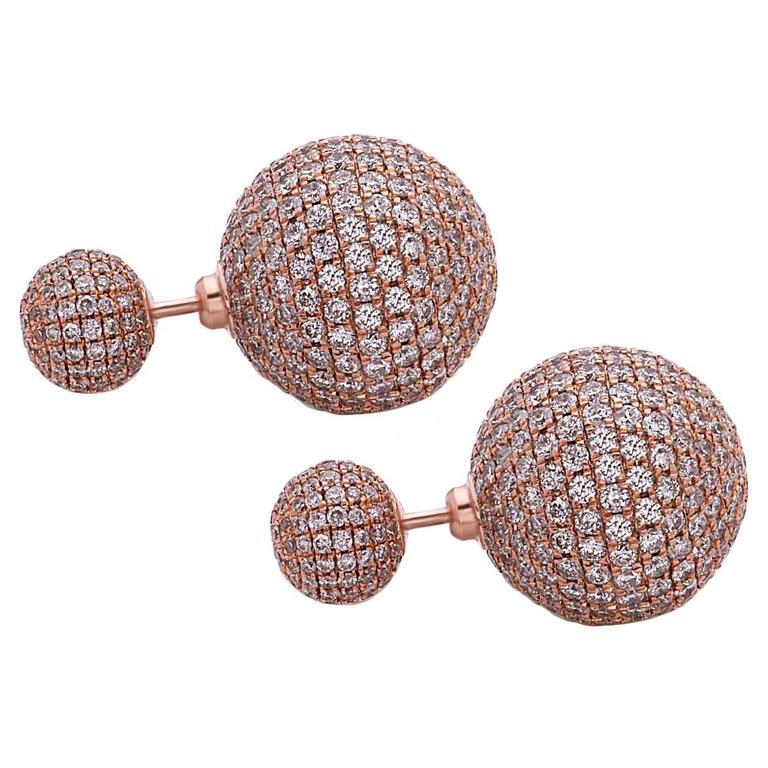 Diamond Gold Ball Tribal Earrings For
