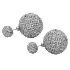 Diamond Gold Tribal Ball Earrings