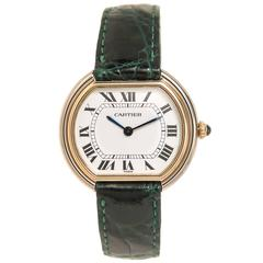 Cartier Yellow and White Gold Ellipse Wristwatch