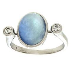 Modernist Blue Moonstone  Diamond Ring in Gold