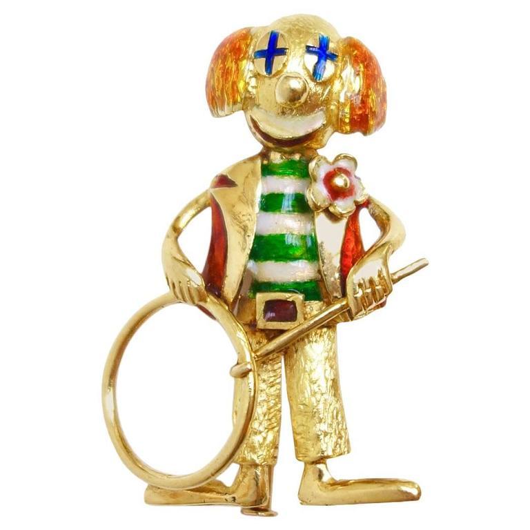Whimsical Enamel Gold Happy Clown Brooch 1