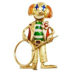 Whimsical Enamel Gold Happy Clown Brooch