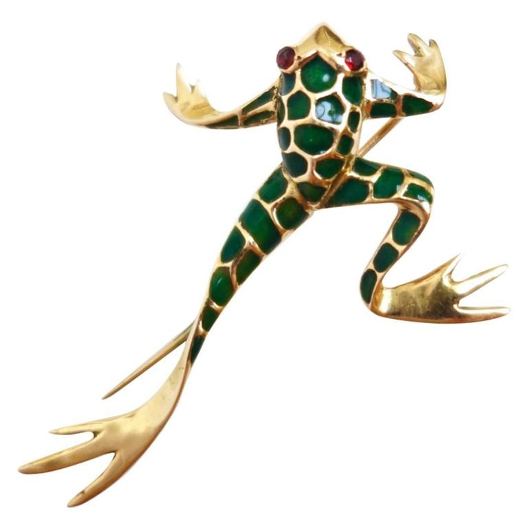 Exotic Green Enamel Garnet Gold Frog Brooch 1