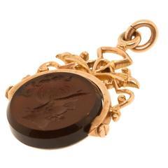 Antique 1890s Intaglio Gold Pendant