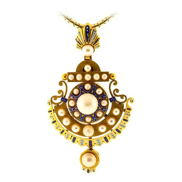 1890s Antique English Natural Pearl Enamel & Gold Pendant