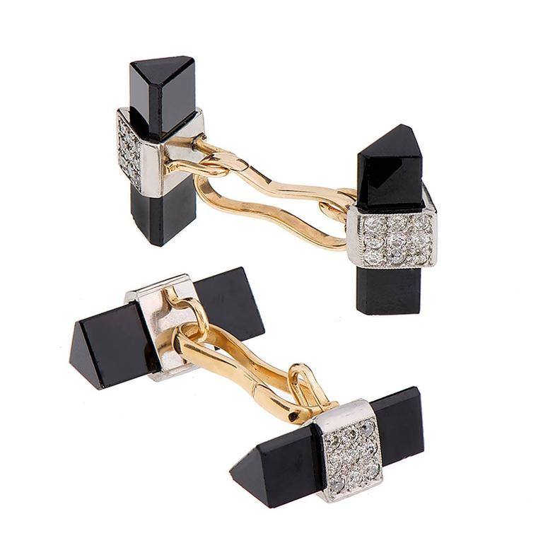 Onyx Diamond Gold Platinum Cufflinks