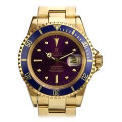 Rolex Yellow Gold Submariner Date Purple Haze Wristwatch Ref 1680