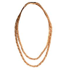 1960s Braided Gold Chain Necklace